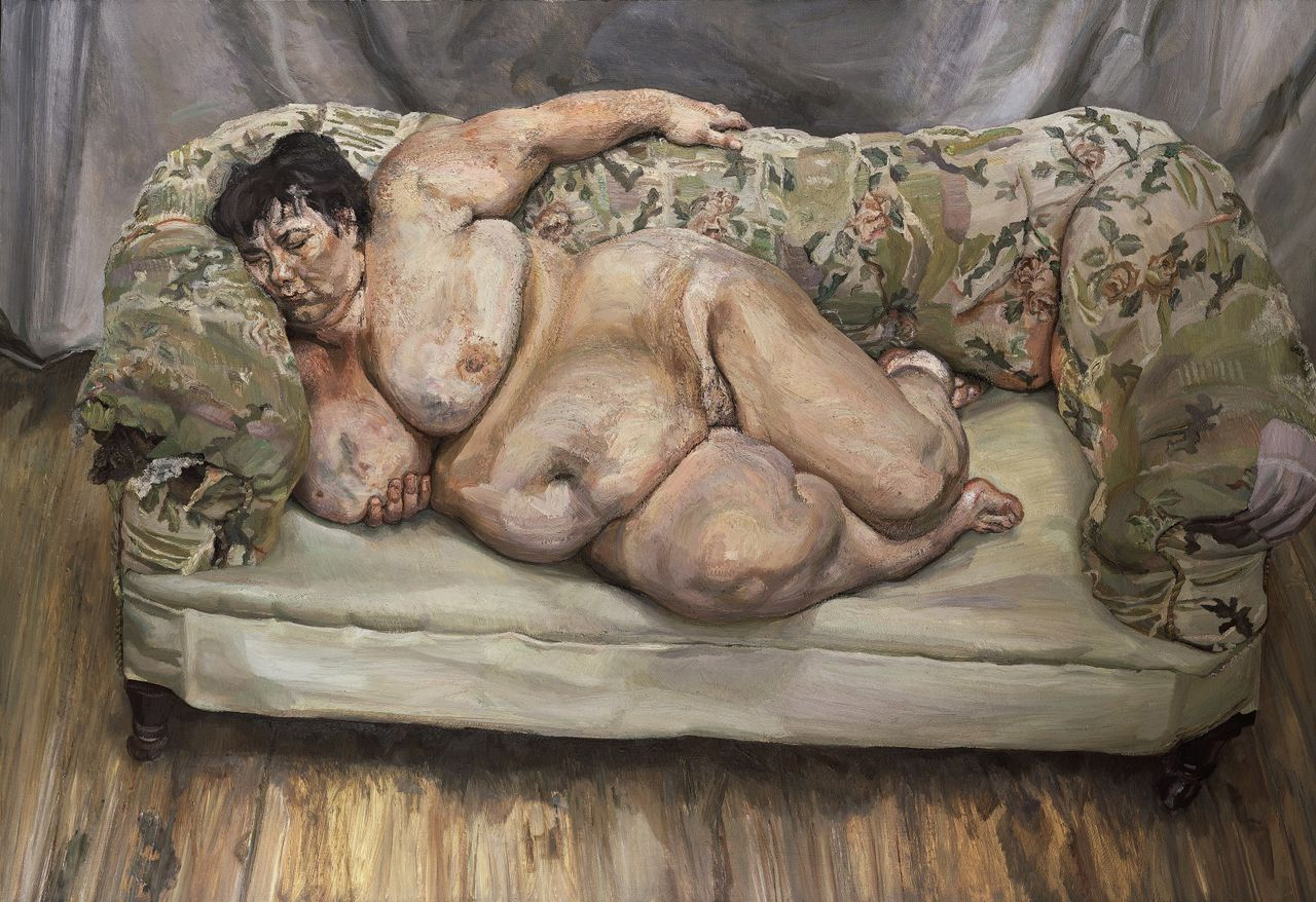 """**EDS NOTE NUDITY** This photo provided by Christie's shows """"Benefits Supervisor Sleeping,"""" by British artist Lucien Freud. The 1995 painting could set a record for a living artist when it goes on the auction block in New York Tuesday, May 13, 2008 for an estimated $25 million to $35 million. (AP Photo/Christie's) **NO SALES; PHOTO PROVIDED BY CHRISTIE'S**"""