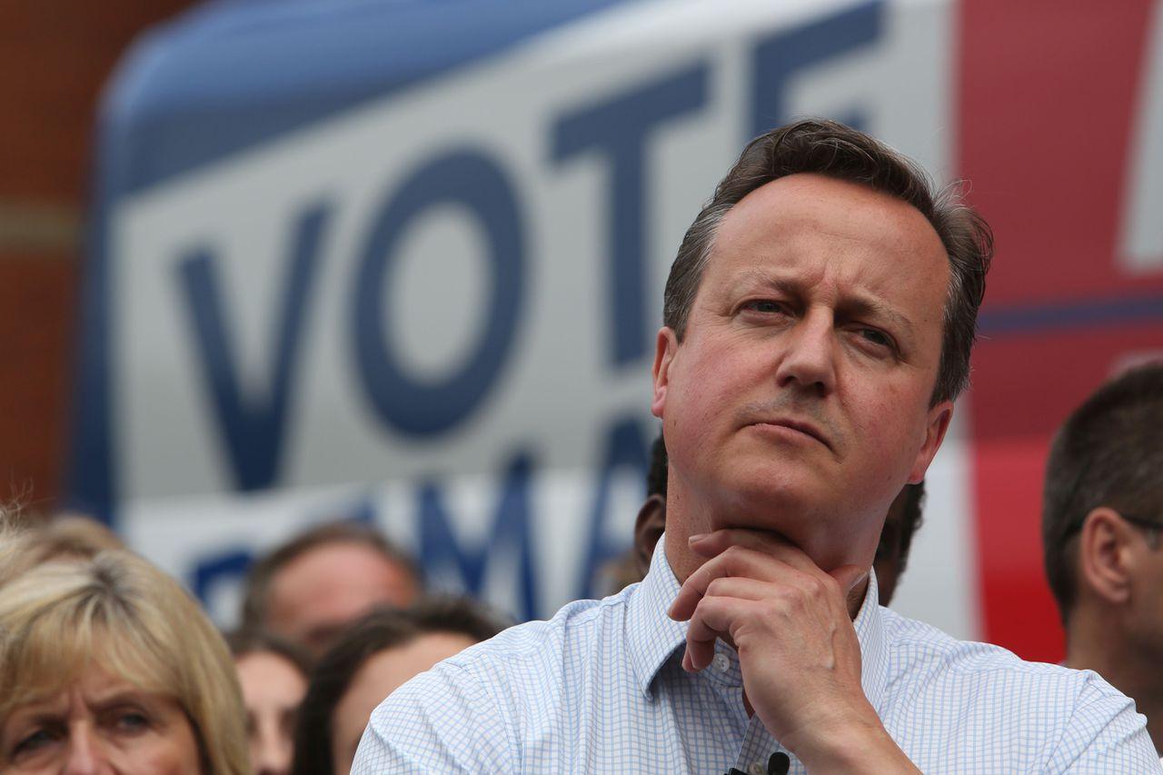 De Britse premier Cameron bij een Remain-campagnebijeenkomst vorige maand.