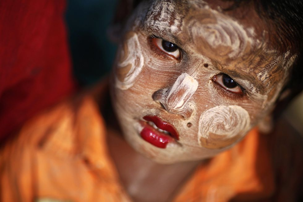 A Rohingya Muslim child is seen  at a camp for people displaced by violence, near Sittwe