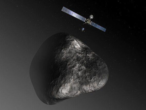 Artist impression van de Rosetta die een lander plaatst op de komeet 67P/Tsjoerjoemov-Gerasimenko.