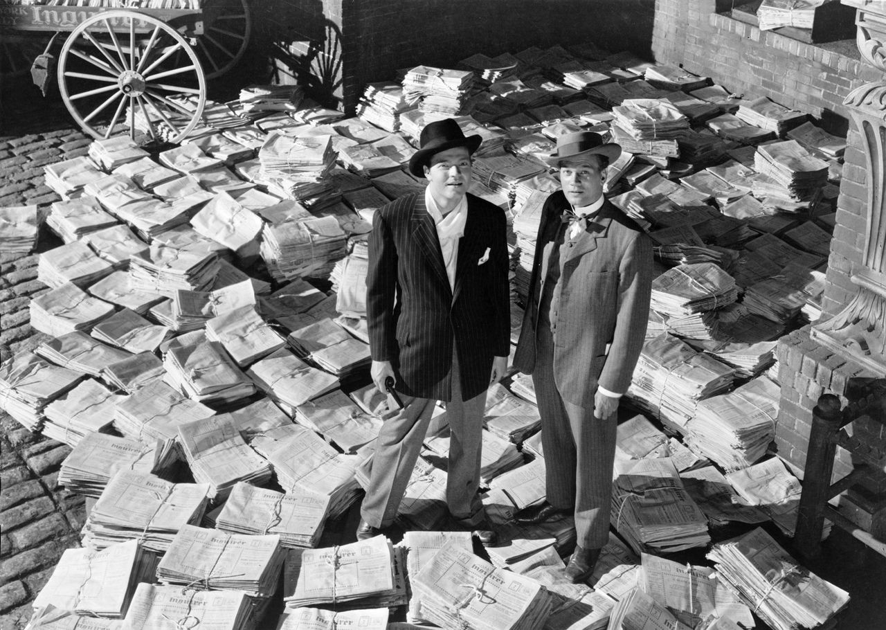 """Orson Welles as Charles Foster Kane and Joseph Cotten as Jedediah Leland perform in """"Citizen Kane"""" at an undisclosed location in this undated photo released to the press on Nov. 23, 2011. Kane was modelled on William Randolph Hearst, who tried to stop the film's release. Source: Warner Home Video via Bloomberg EDITOR'S NOTE: NO SALES. EDITORIAL USE ONLY."""