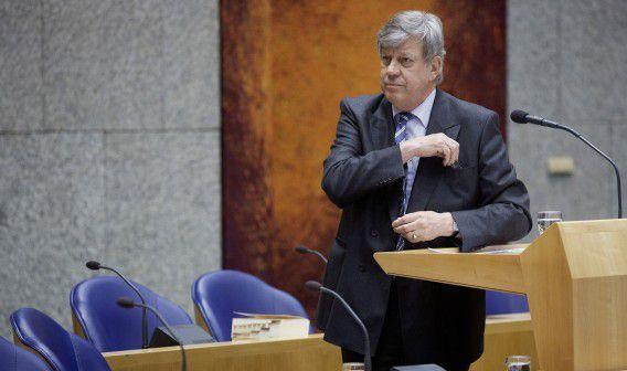 Minister Ivo Opstelten vorige week tijdens het vragenuurtje in de Tweede Kamer.