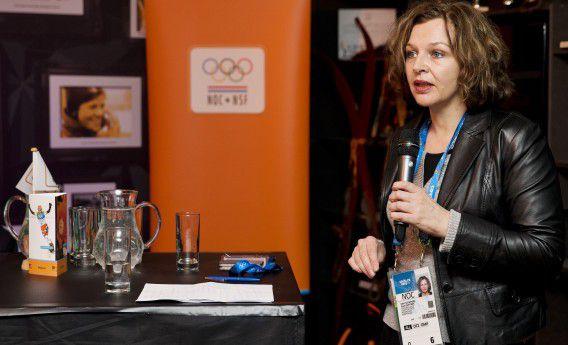 Minister Edith Schipper bij een bijeenkomst over mensenrechten in het Holland Heineken House op de Olympische Spelen van vorige maand.