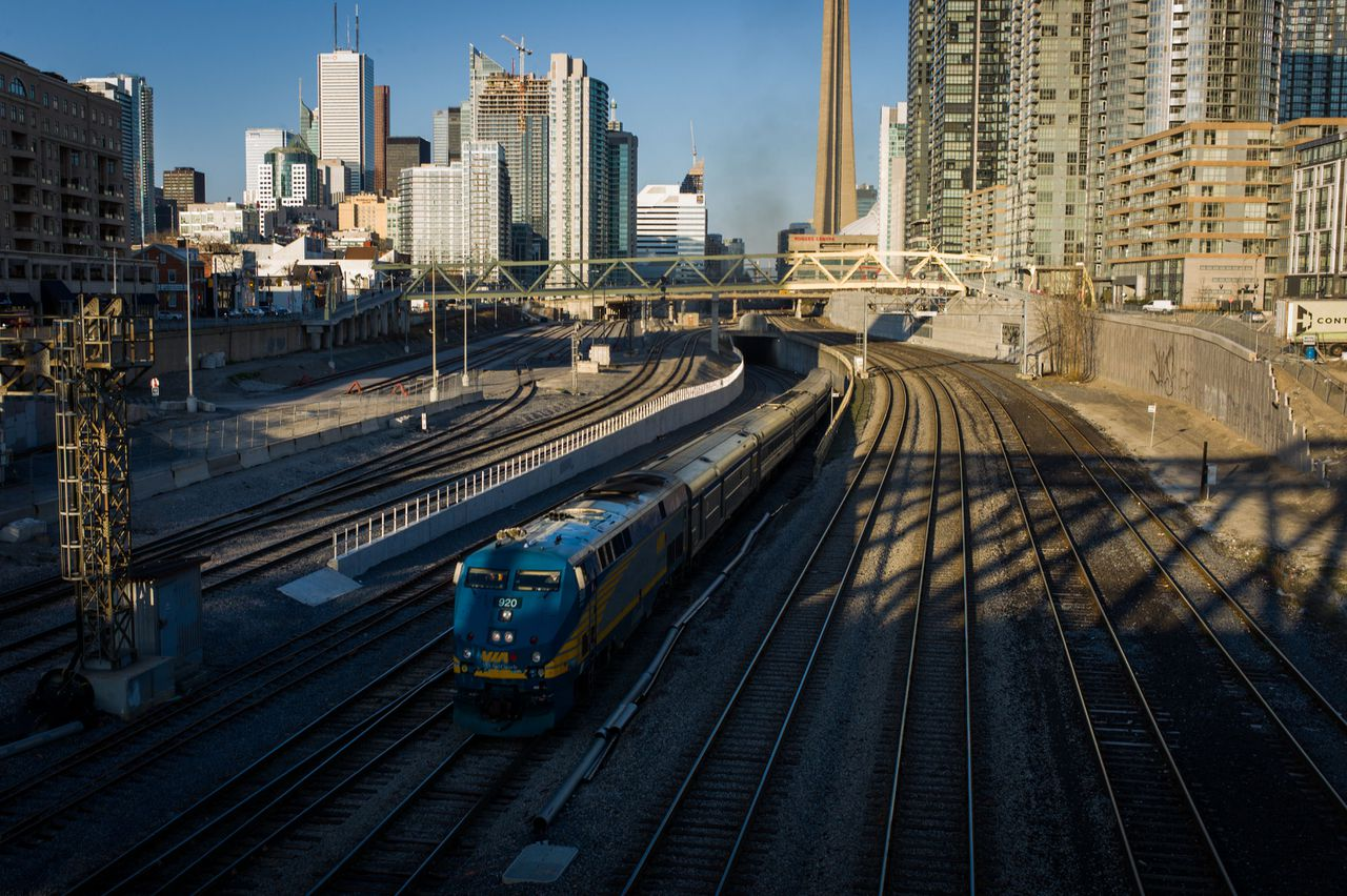 TORONTO, CANADA - APRIL 22: A VIA Rail train leaves Union Station, the heart of VIA Rail travel, bound for Windsor on April 22, 2013 in Toronto, Ontario, Canada. The Royal Canadian Mounted Police (RCMP) report they have arrested two people connected to an alleged Al Qaeda plot to detonate a bomb on a VIA Rail train in Canada. Ian Willms/Getty Images/AFP == FOR NEWSPAPERS, INTERNET, TELCOS & TELEVISION USE ONLY ==