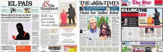 Voorpagina's van diverse kranten.
