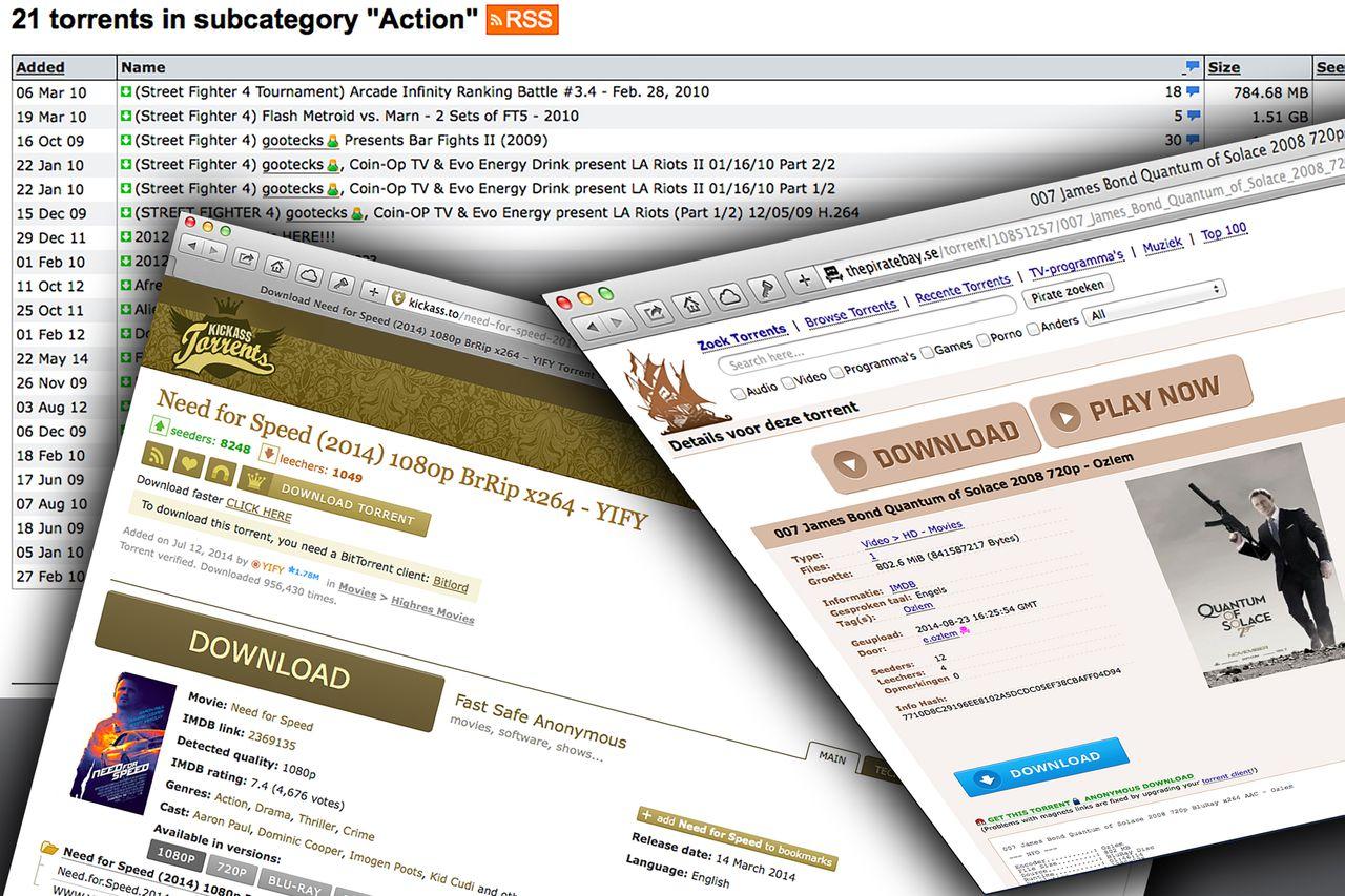Zo zien de webpagina's van The Pirate Bay er uit.