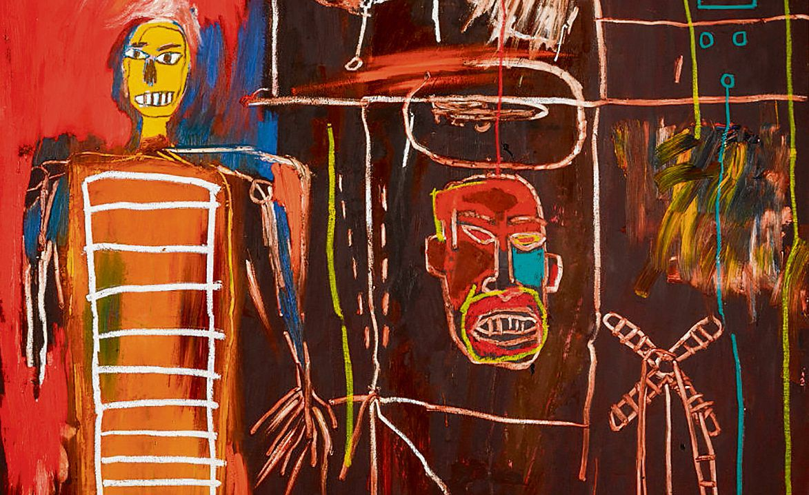 Detail uit Jean-Michel Basquiat: Air Power, 1988. Richtprijs: 2,-3,5 miljoen pond.