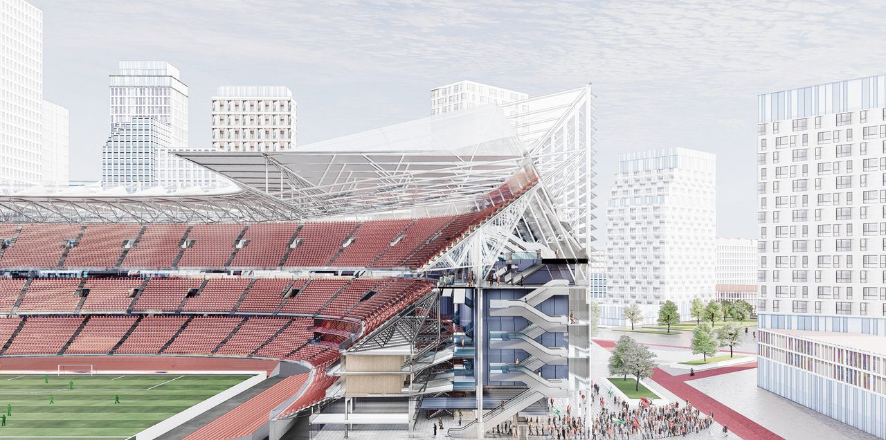 Een artist impression van de vernieuwde Kuip van consortium DMK met een derde ring, de aangebouwde schil en het nieuwe dak.