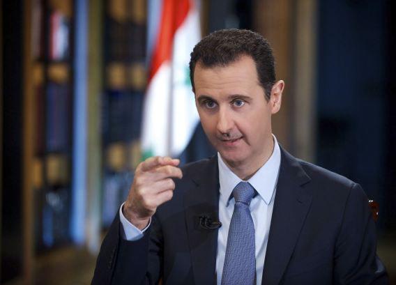 President Bashar al-Assad tijdens een interview met de Turkse zender Halk TV.