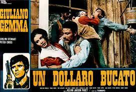 Kogel ketst af op dollar die de rebel van zijn geliefde kreeg. Poster van de film One Silver Dollar (1966)