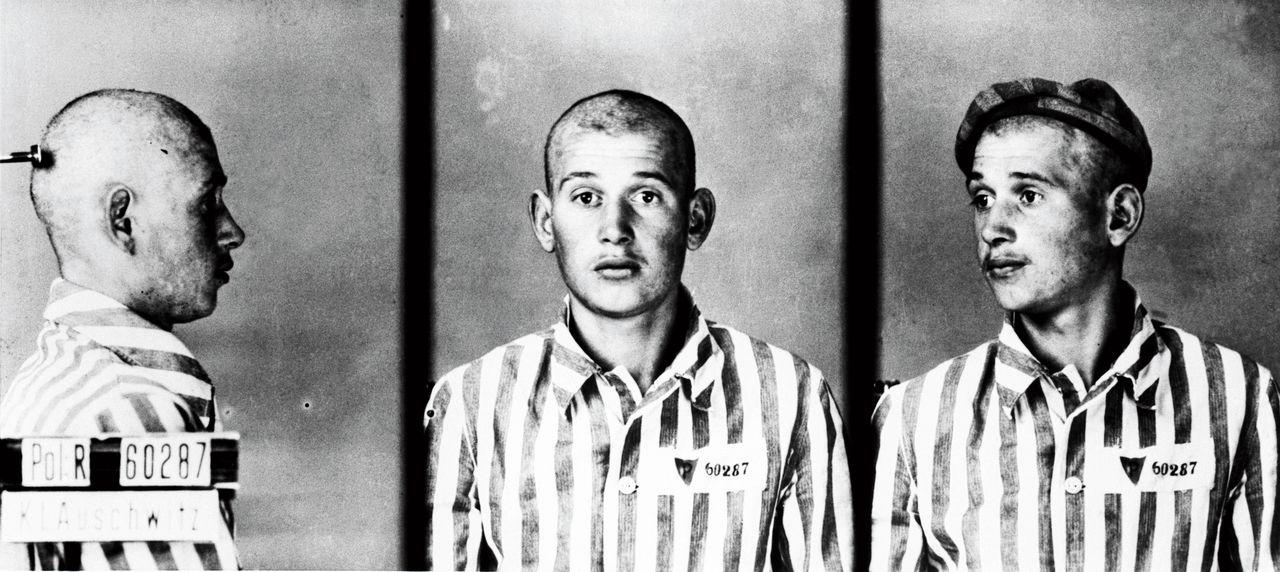 Gevangene 60287 in Auschwitz-Birkenau. De foto's zijn genomen door Wilhelm Brasse (1917-2012), een Poolse medegevangene die op bevel van de SS zo'n 50.000 gevangenen heeft gefotografeerd. In januari 1945 lukte het hem 38.000 foto's van vernietiging te redden. Na de oorlog raakte hij nooit meer een camera aan.