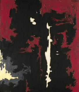 "In this undated photo provided by Sotheby's Auction House, a painting by Abstract Expressionist Clyfford Still entitled ""1949-A-No. 1,"" is shown. The painting sold at auction by Sotheby's in New York for over $61 million. It was one of a group of four paintings by the artist that brought over $114 million collectively. (AP Photo/Sotheby's Auction House)"