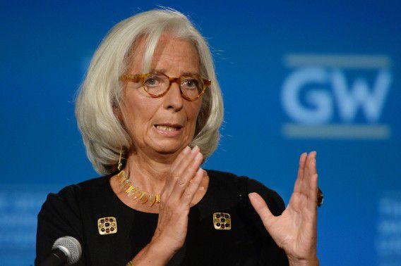 IMF-directeur Christine Lagarde spreekt over de wereldeconomie op George Washington University in Washington D.C.