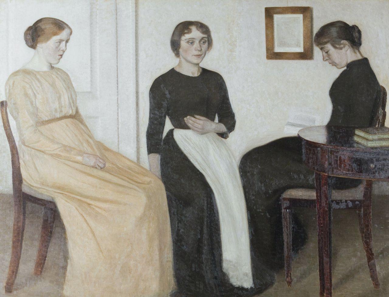 Drie jonge vrouwen van Vilhelm Hammershøi (1895)