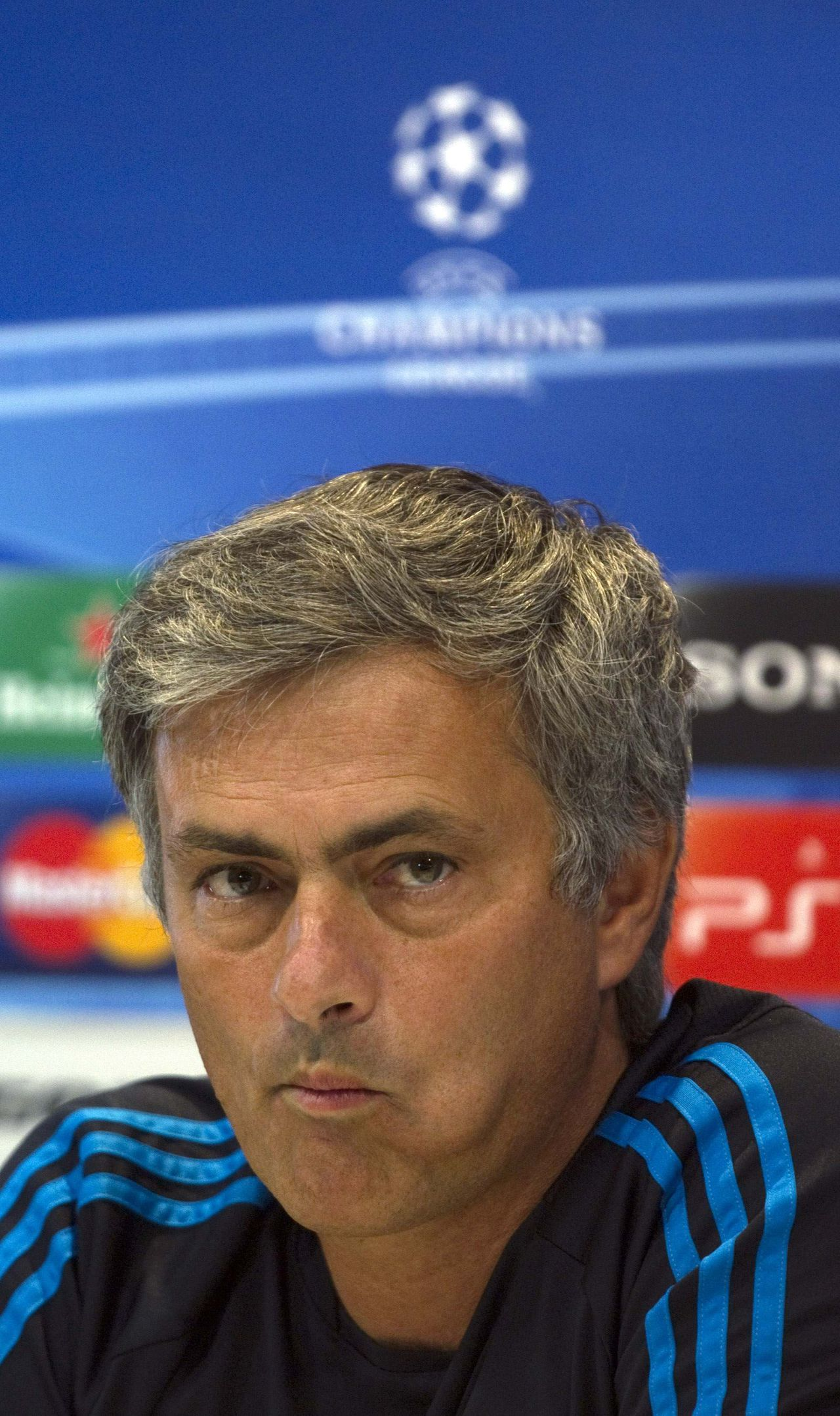 Real Madrid's coach Jose Mourinho attends a news conference after his team's training session at Valdebebas training ground in Madrid October 17, 2011, ahead of their Champions League match against Olympique Lyon. REUTERS/Sergio Perez (SPAIN - Tags: SPORT SOCCER HEADSHOT)
