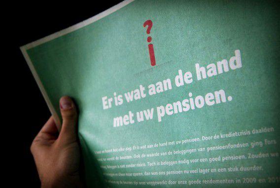 Een oude advertentie van vijf grote pensioenfondsen.