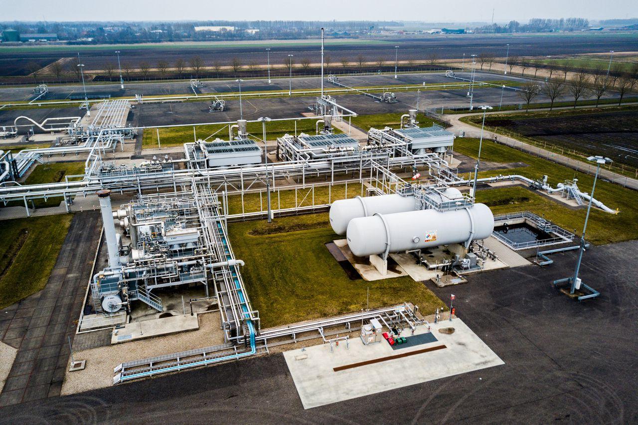Gaswinningslocatie van de NAM in Muntendam in Groningen.