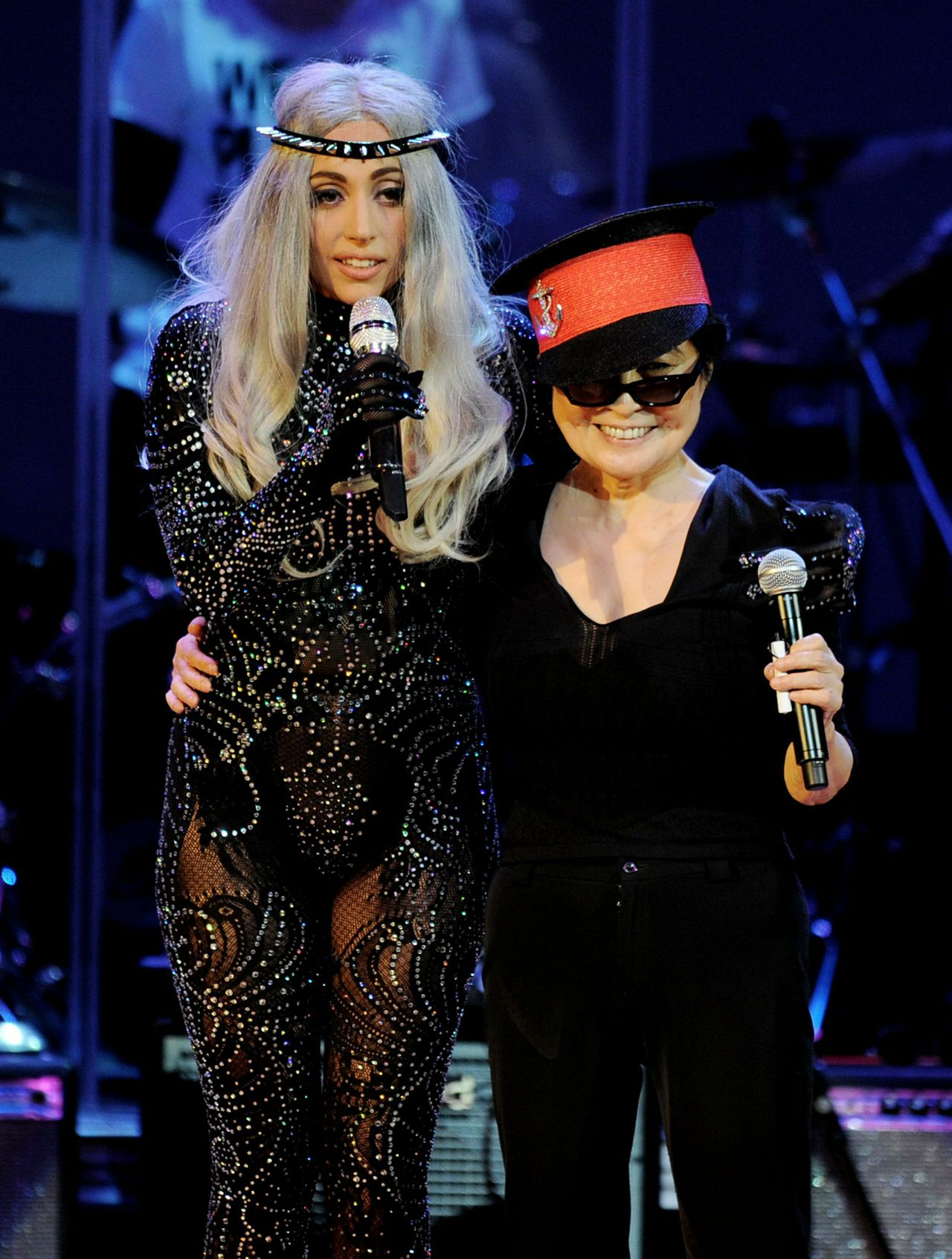 "LOS ANGELES, CA - OCTOBER 02: Singer Lady Gaga (L) and singer/artist Yoko Ono perform at ""We Are Plastic Ono Band"" at the Orpheum Theater on October 2, 2010 in Los Angeles, California. Kevin Winter/Getty Images/AFP"