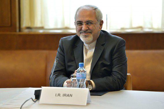 De Iraanse minister van Buitenlandse Zaken, Mohammed Javad Zarif, bij de start van de gesprekken in Zwitserland tussen Iran en andere landen over het atoomprogramma.