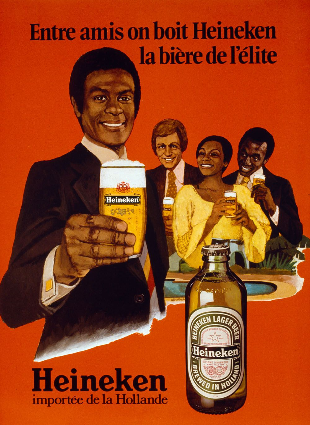 "French advertisement for export beer for the African market: ""Among friends you drink Heineken, the elite's beer. Heineken imported from the Netherlands"" (70s)"