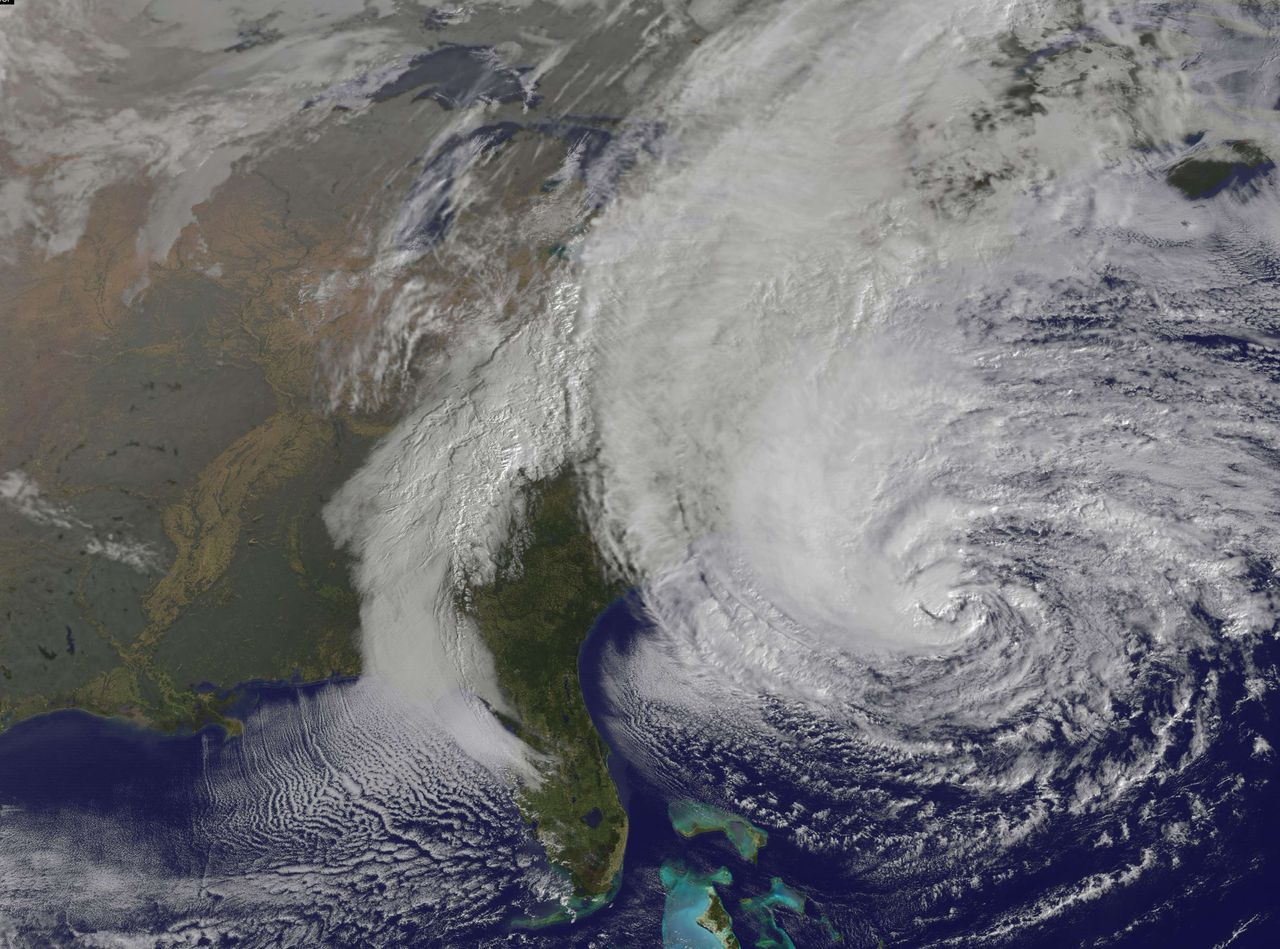 "This visible image was taken from NOAA's GOES satellite on October 28 shows Hurricane Sandy. US emergency officials braced for the potentially massive impact of a so-called ""Frankenstorm"" Sunday as Hurricane Sandy lumbered north in the Atlantic Ocean, poised to hit the eastern seaboard with torrential rains and gale-force winds. The superstorm was expected to make landfall somewhere between Virginia and Massachusetts early Tuesday, possibly causing chaos during the frenzied last days of campaigning before the November 6 US presidential vote. As it churned in a northeasterly direction, the massive weather system was at category one strength, the lowest-level hurricane on the five-tiered Saffir-Simpson scale, with maximum sustained winds of 75 miles (120 kilometers) per hour, the National Hurricane Center (NHC) said. The center said that while little change in strength was anticipated for Sandy, which was now located 260 miles (420 kilometers) south-southeast of Cape Hatteras, North Carolina, it was ""expected to remain a large and powerful until it crosses the coastline."" =RESTRICTED TO EDITORIAL USE - MANDATORY CREDIT "" AFP PHOTO / NASA GOES PROJECT/"" - NO MARKETING NO ADVERTISING CAMPAIGNS - DISTRIBUTED AS A SERVICE TO CLIENTS ="