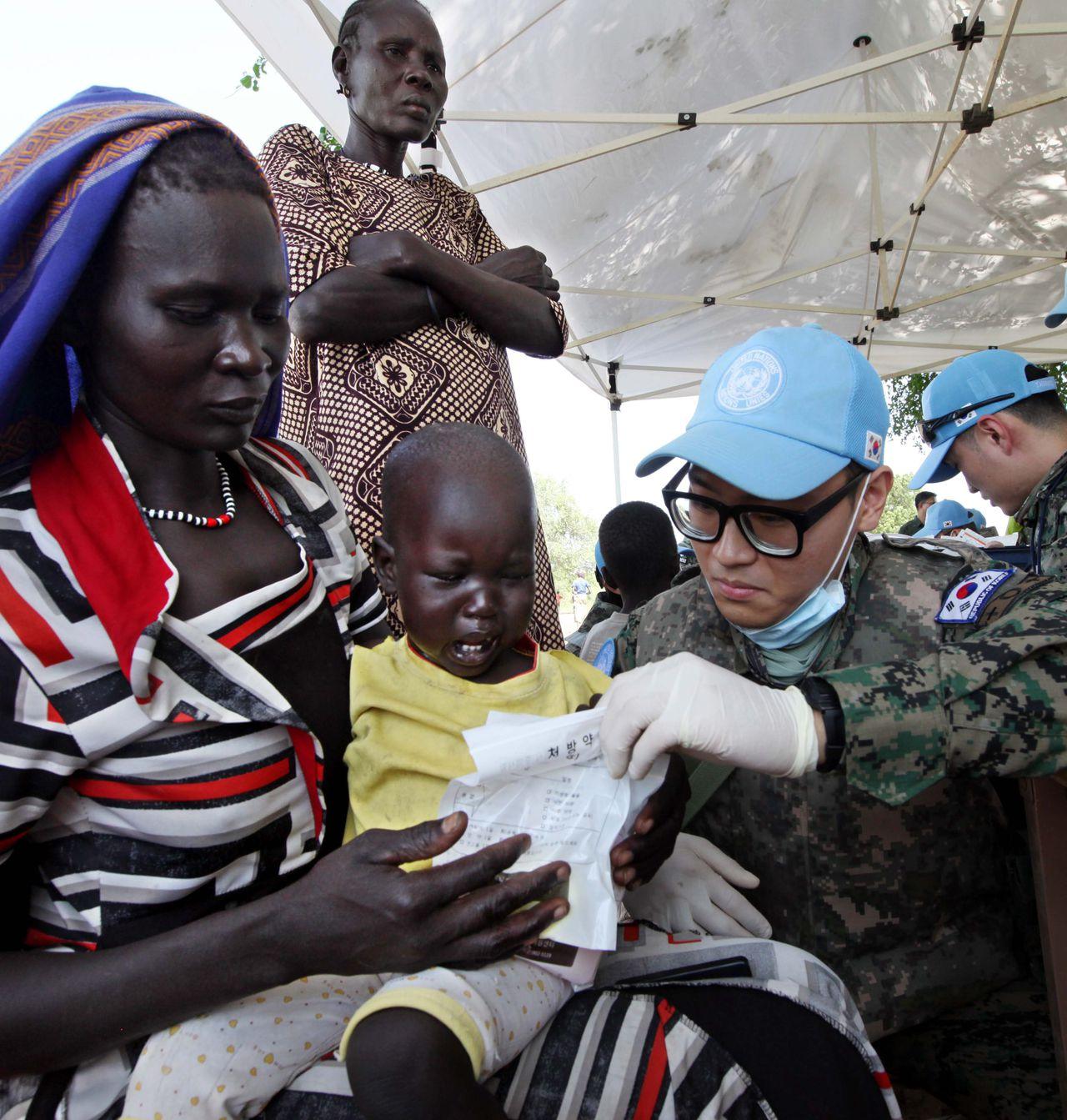 Een Zuid-Koreaanse medewerker van VN-vredesmissie in Zuid-Soedan.