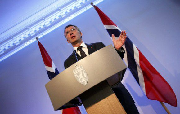 Norwegian Prime Minister Jens Stoltenberg gestures during a news conference in Oslo, July 27, 2011. Stoltenberg said on Wednesday that Norway would review police response and security measures after a mourning period for attacks that killed at least 76 people. REUTERS/Wolfgang Rattay (NORWAY - Tags: CIVIL UNREST CRIME LAW)