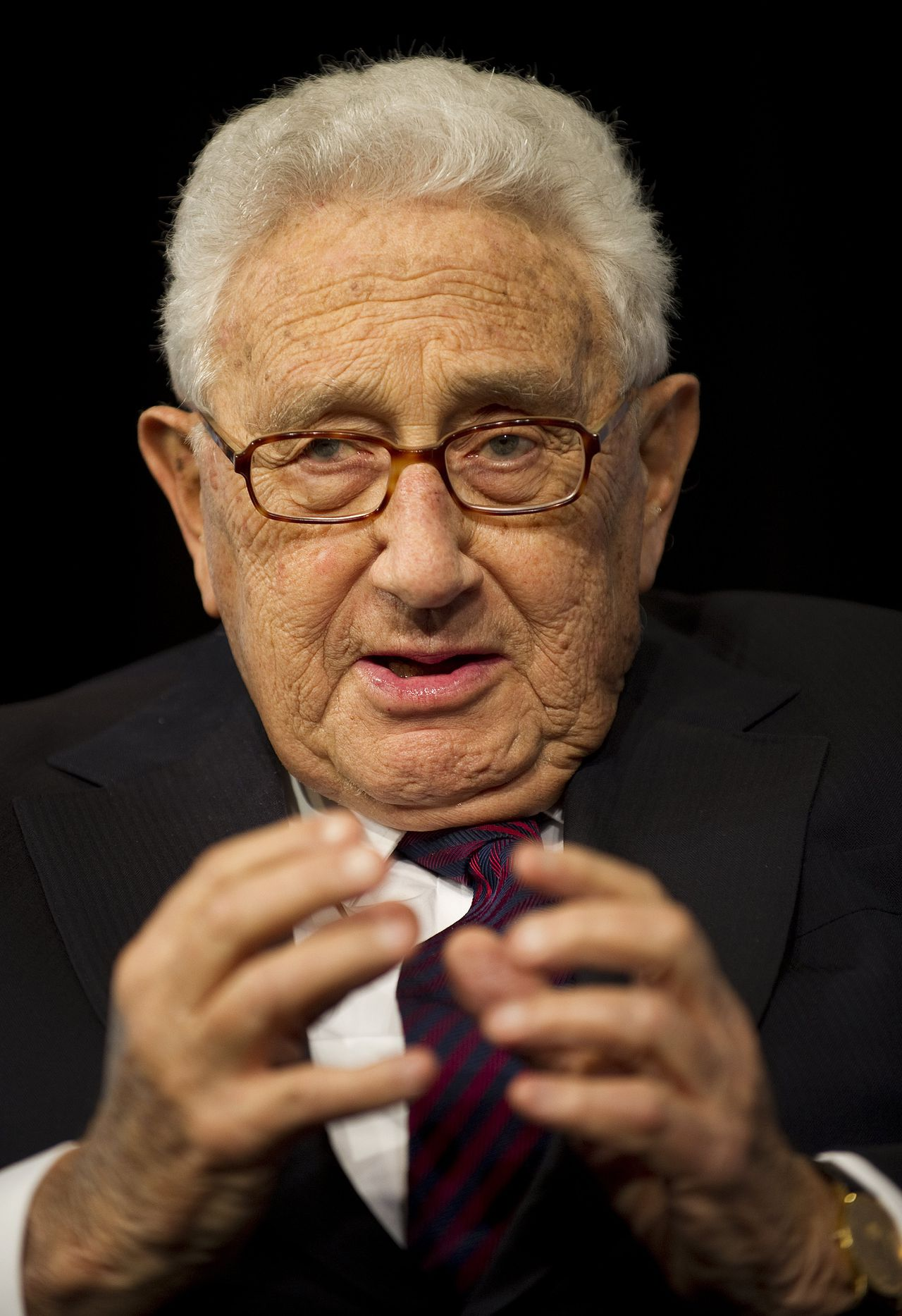 Former Secretary of State Henry Kissinger speaks during the 2011 Washington Ideas Forum at the Newseum in Washington, DC, October 6, 2011. AFP PHOTO/Jim WATSON