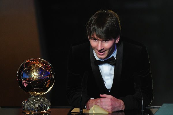Argentina's Lionel Messi receives the FIFA Ballon d'Or award on January 10, 2011 at the Kongresshaus during the FIFA Ballon d'Or ceremony in Zurich. The three finalists for the 2011 Ballon d'Or are Spain's Xavi Hernandez, Spain's Andres Iniesta and Argentina's Lionel Messi who all play for Barcelona. AFP PHOTO / FRANCK FIFE