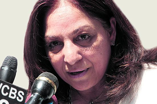 Daisy Khan, co-founder of the Cordoba Initiative, speaks at a rally in support of an Islamic center and mosque near the World Trade Center, Thursday, Aug. 5, 2010, in New York. (AP Photo/Frank Franklin II)