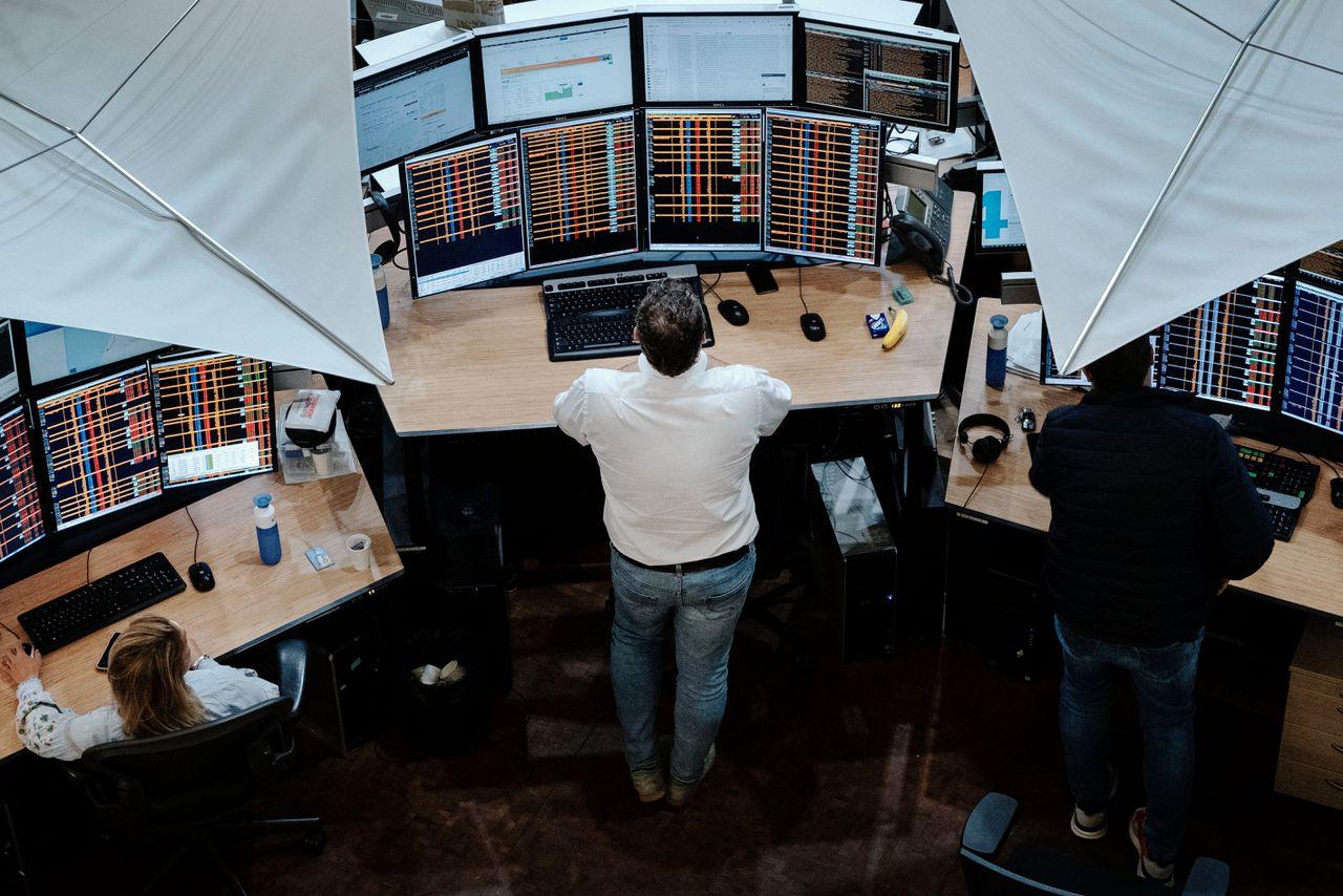 Handelaren op de Euronext in Amsterdam.