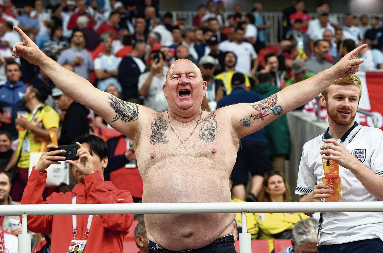 Engelse fan in Moskou voorafgaand aan de wedstrijd tegen Colombia.