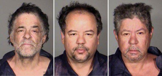 Een combinatiefoto die gisteren door de politie van Cleveland werd vrijgegeven met de verdachte broers Onil Castro (l), Ariel Castro (m) en Pedro Castro (r).