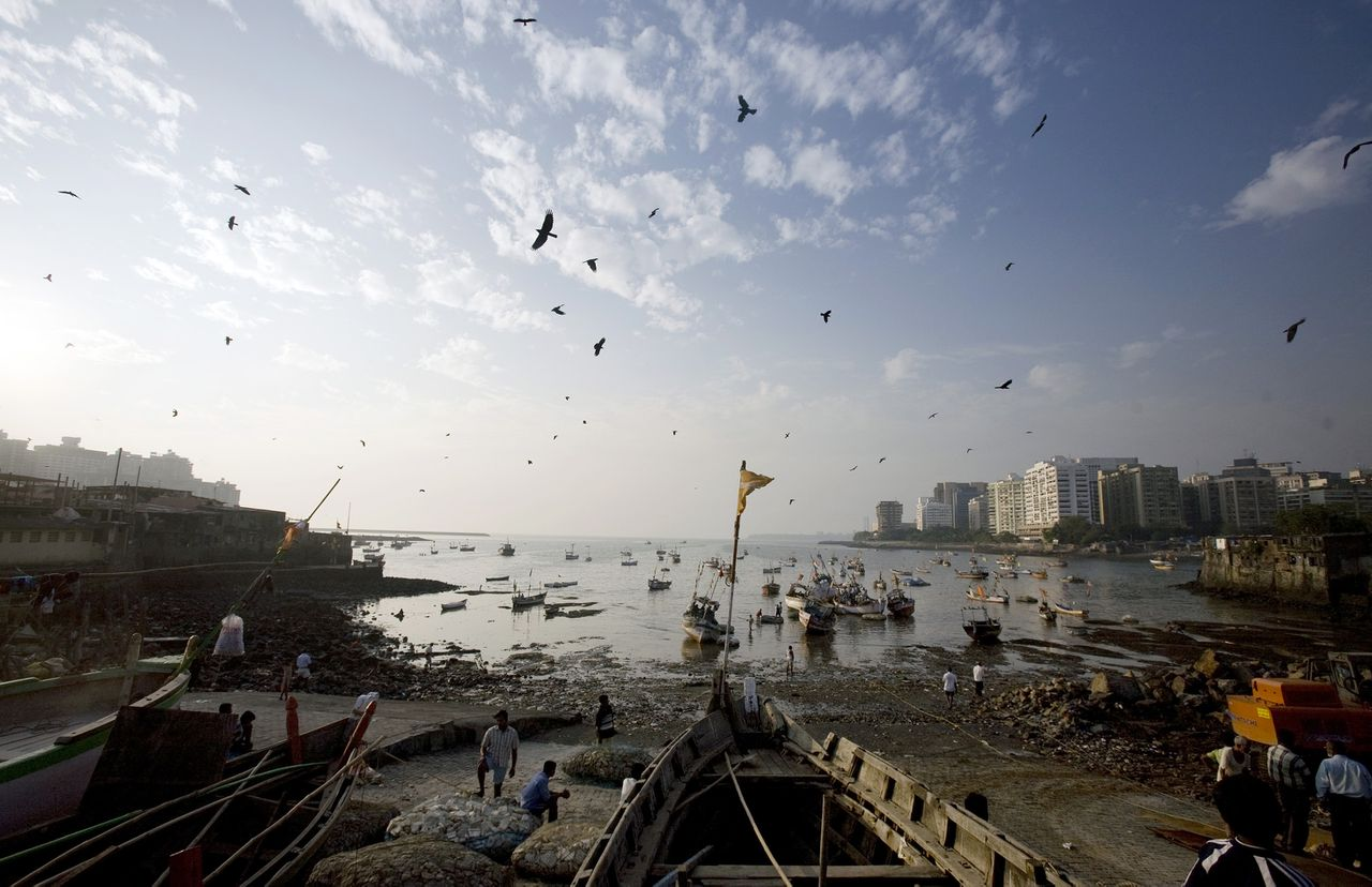 FILE:Seagulls fly over the fishing village where the Nov. 26 Mumbai attackers landed, in Mumbai, India, on Monday, Dec. 15, 2008. India's bureaucracy may hinder the country's ability to improve port security after the terrorists who launched the deadliest attacks in 15 years infiltrated Mumbai from the sea. Photographer: Prashanth Vishwanathan/Bloomberg