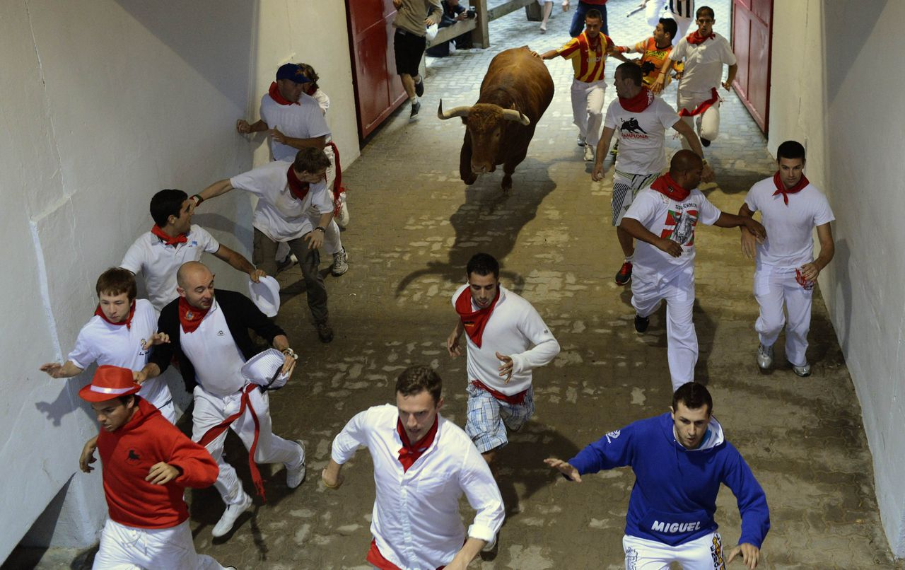 Runners sprint through the tunnel at the entrance to the bullring near a El Pilar fighting bull during the fourth running of the bulls at the San Fermin festival in Pamplona July 10, 2012. Several runners suffered light injuries in the fastest run (two minutes and twenty-two seconds) so far in this festival, according to local media. REUTERS/Vincent West (SPAIN - Tags: ANIMALS SOCIETY)