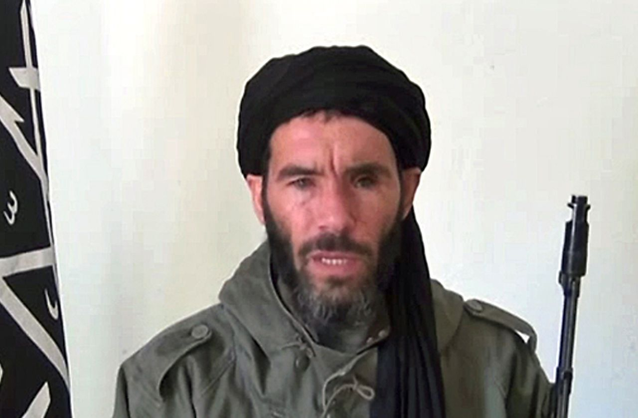 """(FILES) An undated grab from a video obtained by ANI Mauritanian news agency reportedly shows former Al-Qaeda in the Islamic Maghreb (AQIM) emir Mokhtar Belmokhtar speaking at an undisclosed location. In an unprecedented move, the United States on June 3, 2013 posted up to $23 million in rewards to help capture five leaders of militant groups which have spread terror in west Africa and Nigeria. The highest reward of up to $7 million is offered for the leader of Nigeria's Boko Haram extremists, Abubakar Shekau, while $5 million each was posted for Al-Qaeda veteran Mokhtar Belmokhtar and Yahya Abou Al-Hammam, a top figure in Al-Qaeda in the Islamic Maghreb, US officials said. AFP PHOTO / HO / ANI ==RESTRICTED TO EDITORIAL USE - MANDATORY CREDIT """"AFP PHOTO / HO / ANI"""" - NO MARKETING NO ADVERTISING CAMPAIGNS - DISTRIBUTED AS A SERVICE TO CLIENTS =="""