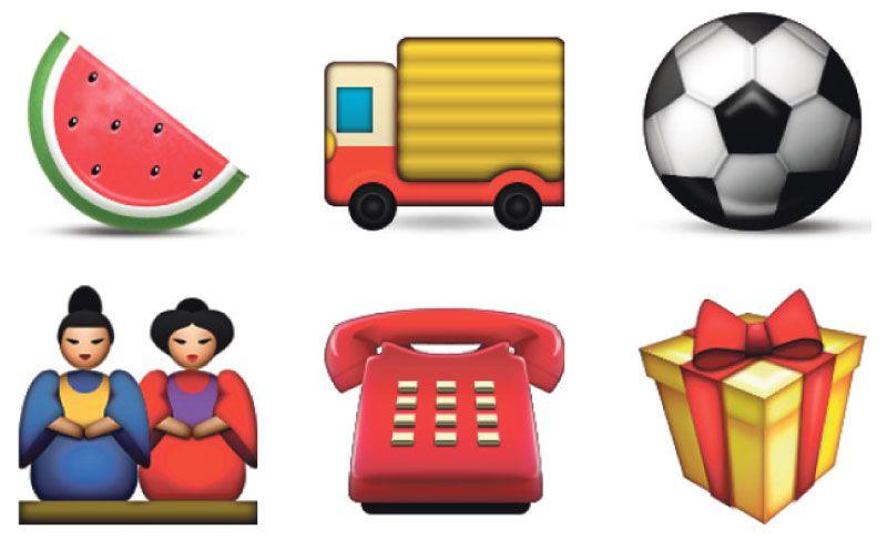 Enkele van de emoji die Angela Guzman ontwierp.