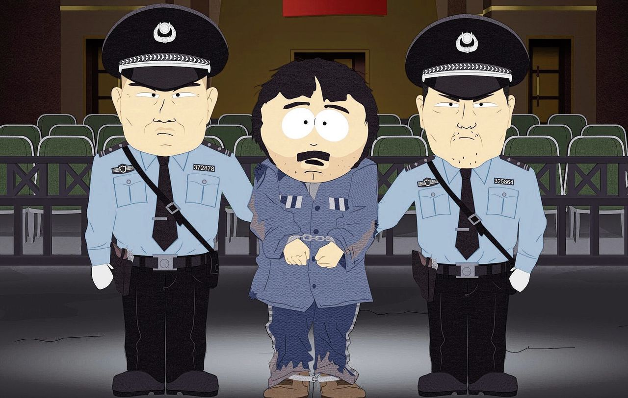 In een recente aflevering van South Park wordt personage Randy in China gearresteerd en 'heropgevoed'.