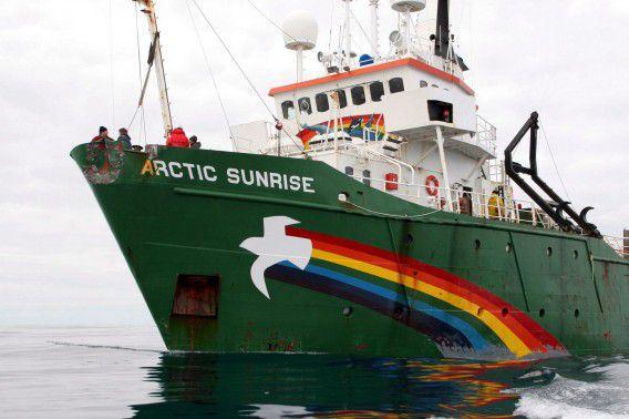 Het Greenpeace-schip Arctic Sunrise.