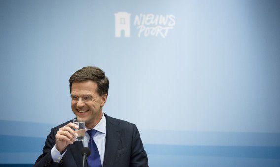Premier Mark Rutte tijdens de wekelijkse persconferentie in Nieuwspoort.