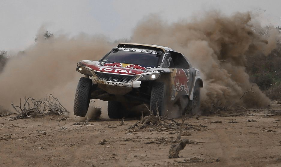 Stephane Peterhansel tijdens de Dakar Rally.