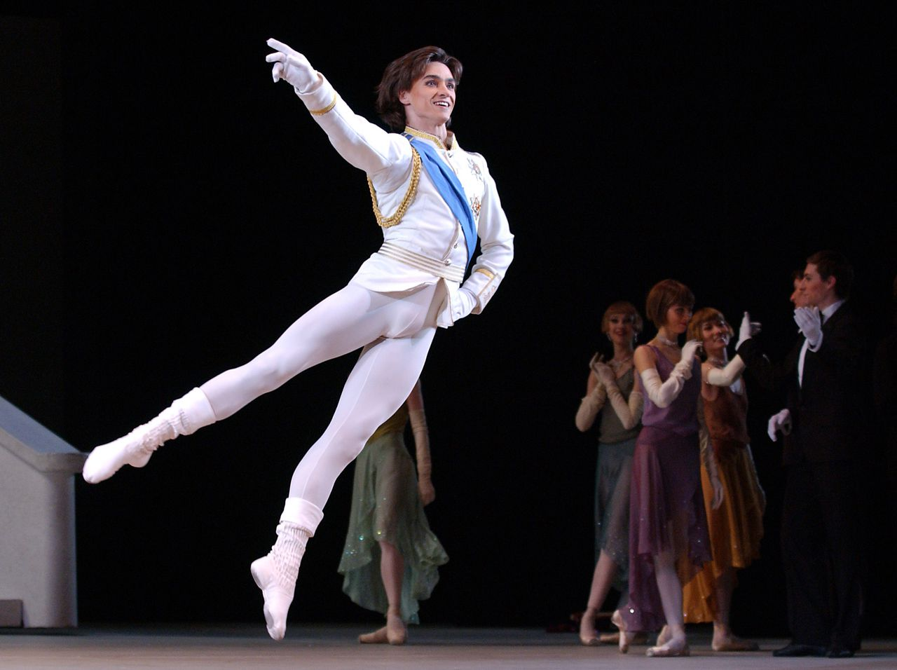 01 Feb 2006, Moscow, Russia --- Sergei Filin dancing the role of the Prince in Sergei Prokofiev's Cinderella, directed by Yuri Borisov and choreographed by Yuri Posokhov. The pre-premiere performance took place on the Bolshoi Theater's new stage. --- Image by © Kurov Alexander/ITAR-TASS/Corbis