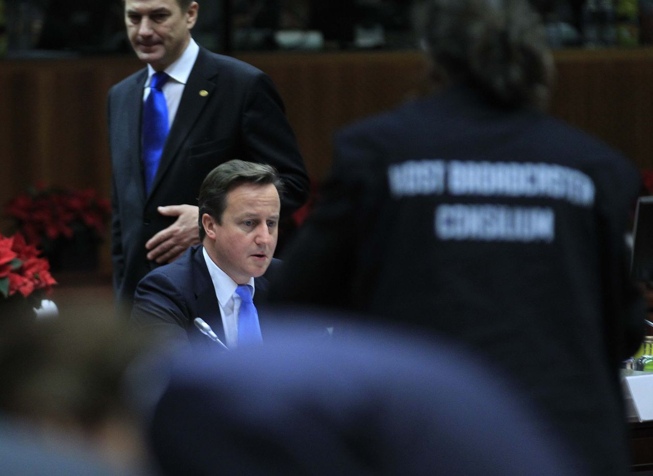 Britain's Prime Minister David Cameron attends a European Union summit in Brussels December 9, 2011. EU leaders agreed stricter budget rules for the euro zone on Friday, but failed to secure changes to the EU treaty among all 27 member states, meaning a deal will instead have to involve just euro zone states and any others that want to join. REUTERS/Yves Herman (BELGIUM - Tags: POLITICS BUSINESS)