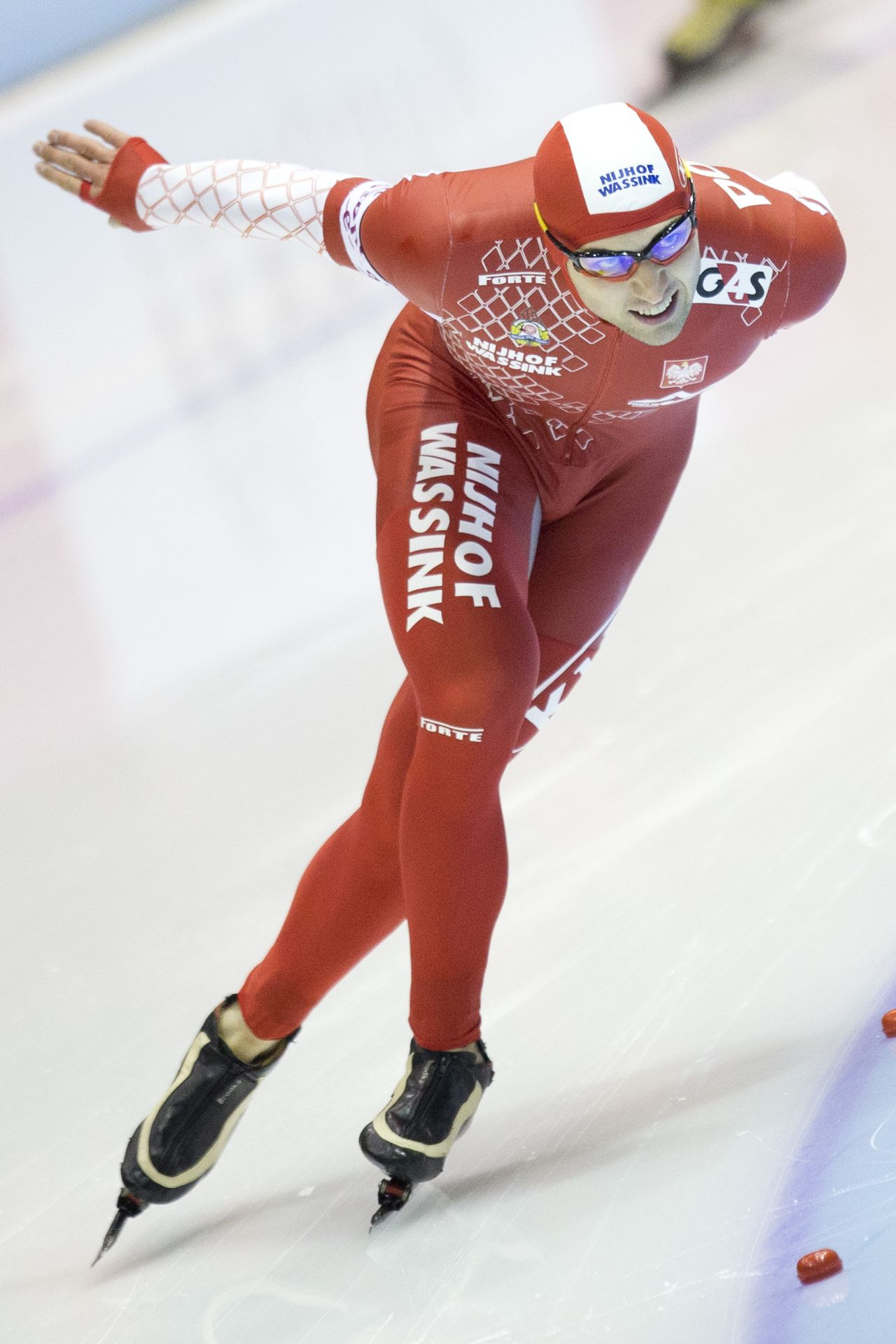 Zbigniew Brodka competes during the men's 1500 meters race of the ISU European Championships Speed Skating Allround at Thialf stadium in Heerenveen, northern Netherlands, Saturday, Jan. 12, 2013. (AP Photo/Peter Dejong)