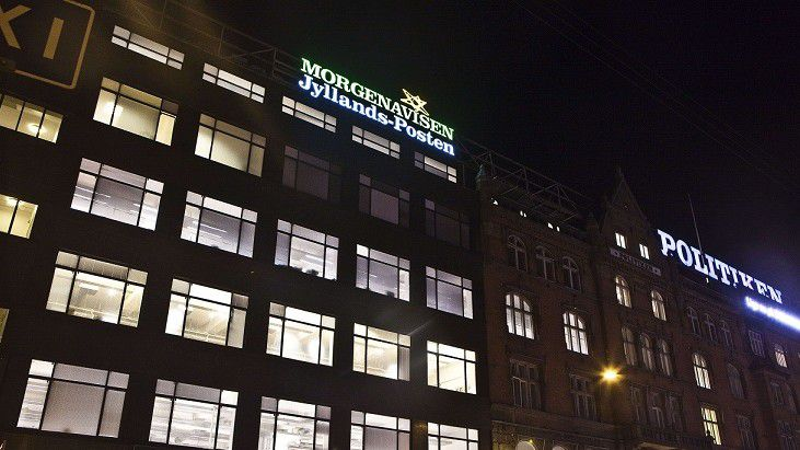 Picture taken on December 29, 2010 of the building which houses the Jyllands-Posten newspaper in Copenhagen. The Danish intelligence agency PET said today it had arrested four men suspected of preparing a terror attack against the Danish daily Jyllands-Posten, which published the caricatures of the Prophet Mohammed. A spokeswoman for Swedish intelligence agency Saepo said a fifth man had been arrested in Sweden in connection with the same terror plot. AFP PHOTO / SCANPIX DENMARK / Martin Sylvest Andersen ***DENMARK OUT***