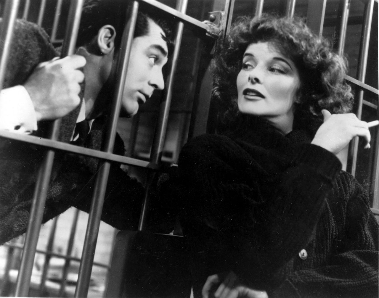 """Actress Katharine Hepburn is shown in character with Cary Grant in a scene from """"Bringing Up Baby"""" in 1938. (AP Photo)"""