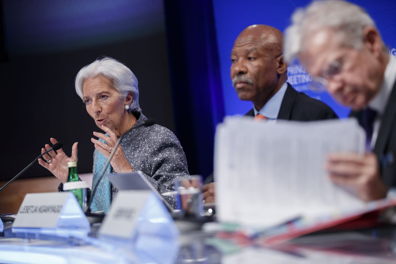 Directeur van het Internationaal Monetair Fonds (IMF) Christine Lagarde (links) tijdens de voorjaarsvergadering in Washington.