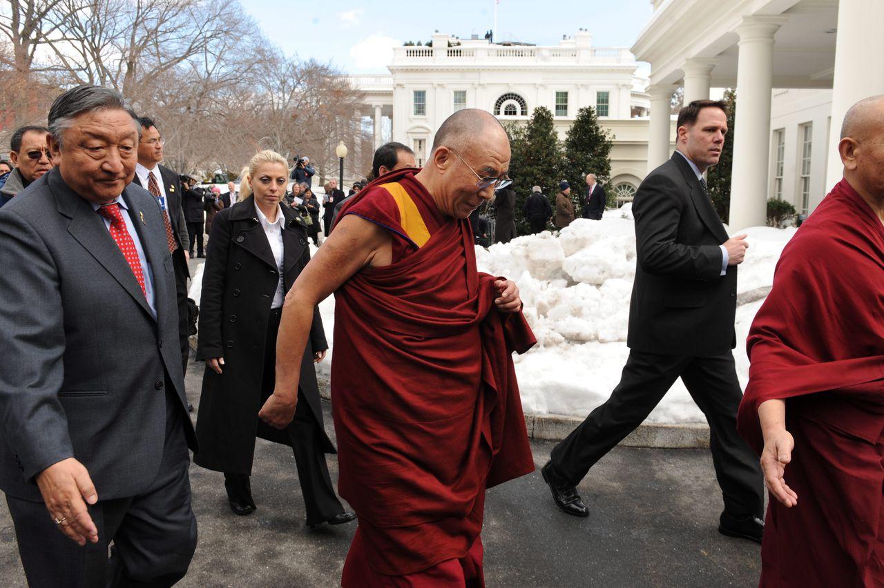 De Dalai Lama na een eerdere ontmoeting met Obama in 2010. Ook toen reageerden de autoriteiten in Peking boos.