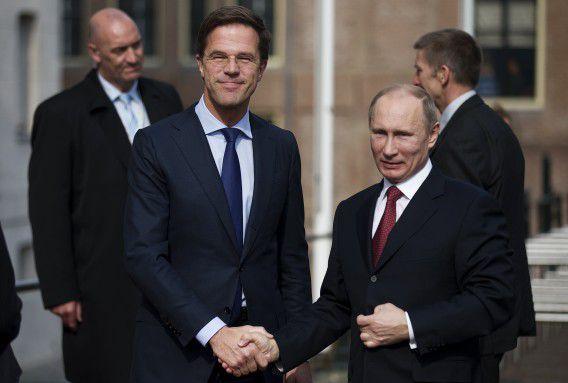 Rutte ontvangt de Russische president Vladimir Poetin in het Scheepsvaartmuseum in Amsterdam.