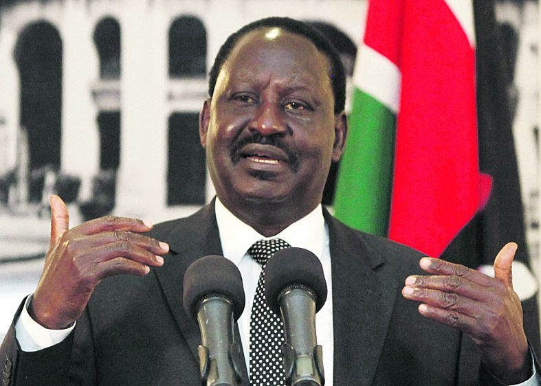 """Kenyan Prime Minister, Raila Odinga, gestures as he addresses the foreign journalists in Nairobi, Kenya, Tuesday, June 12, 2012. Odinga said that Kenyan forces are preparing for a """"final onslaught"""" on the Somali port town of Kismayo, which is controlled by al-Shabab militants, and Odinga said that they are seeking U.S. and European assistance to aid in the planned operation.(AP Photo/Sayyid Azim)"""
